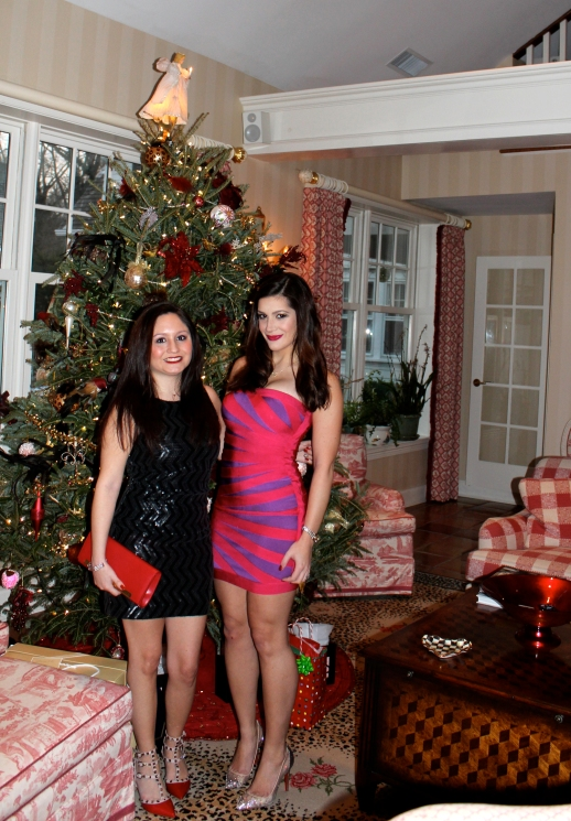 Christmas Fashionistas, me and my cousin Maria. She is in a gorgeous dress by Alice and Olivia (one of our favorite brands) and Valentino shoes. A less expensive alternative to the Alice and Olivia dress is Nasty Gal's Night Glow Sequin Dress (http://www.nastygal.com/clothes-dresses/nasty-gal-night-glow-sequin-dress)  I am wearing an Herver Leger dress and Christian Louboutin shoes (I bought my first pair as a Christmas gift to myself) Unfortunately I'm having trouble finding a less expensive alternative to the Herve Leger dress, if anyone finds one please let me know!